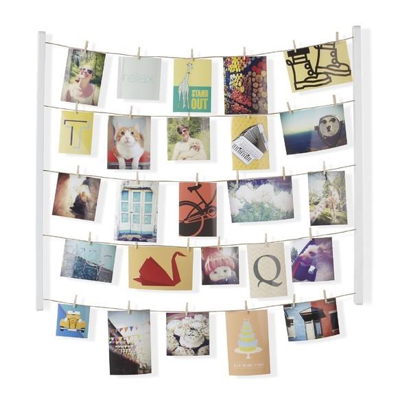 Pêle-mêle photos effet fil à linge blanc en bois 40 pinces