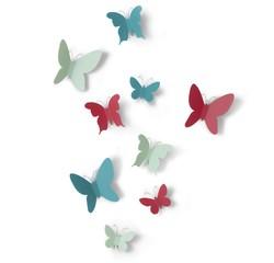 compra en línea Set de 9 mariposas multicolores (5 x 6 x 1 cm - 9 x 10 x 3 cm)