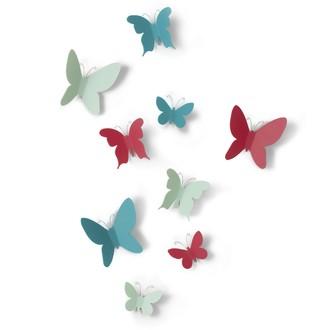 UMBRA - Set de 9 papillons à fixer en plastique multicolores 5x6x1cm à 9x10x3cm