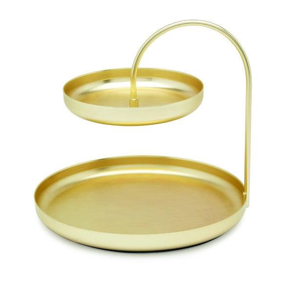 Porte bijoux double plateau en métal doré Poise 20x18cm
