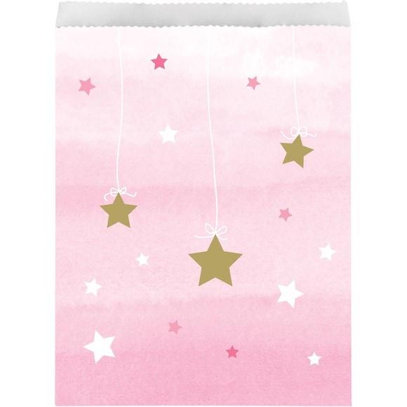 10 sacs à bonbon étoiles roses