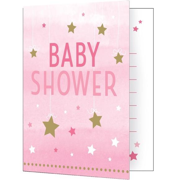 8 invitations étoiles roses bay shower