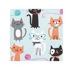 acquista online Tovaglioli di carta soggetti gatto, 16pz. 25x25cm