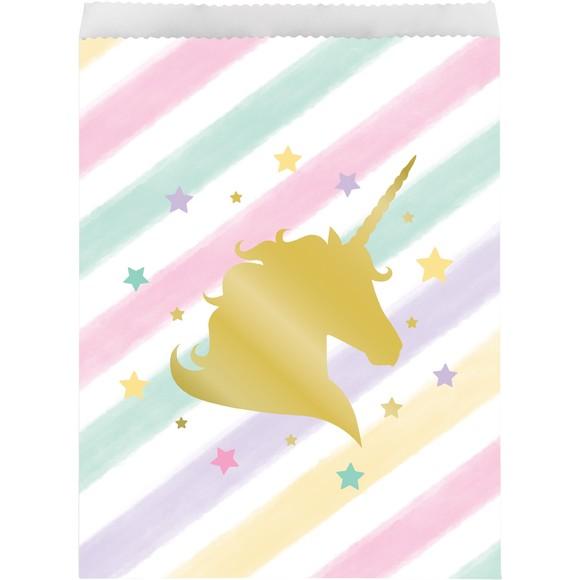 10 sacchetti caramelle unicorno oro