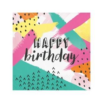 Serviettes peinture happy birthday