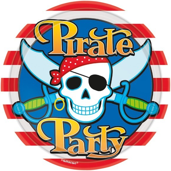 Achat en ligne Paquet 10 assiettes rondes carton pirate party 22,8cm