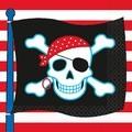 Paquet de 16 serviettes papier imprimé pirate party 33x33cm