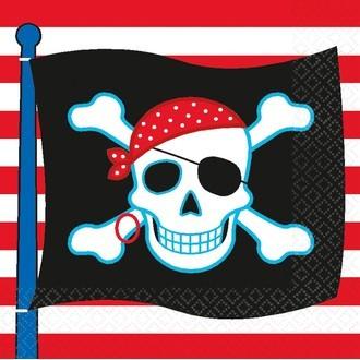 Paquet de 16 serviettes en papier imprimé pirate party 33x33cm