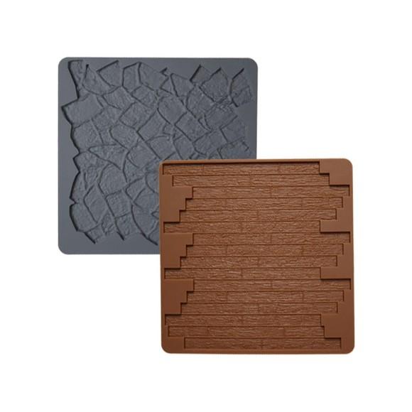 Tappetini in silicone con motivi in pietra e legno, 2 pezzi