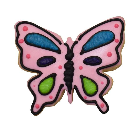 Tagliabiscotti farfalla rosa in metallo verniciato da  8 cm