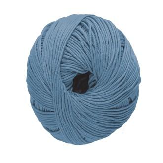 Pelote de laine pure coton bleu jean natura 50g