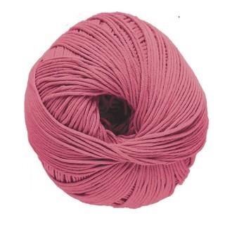 Pelote de laine pure coton rose ceranium natura 50g