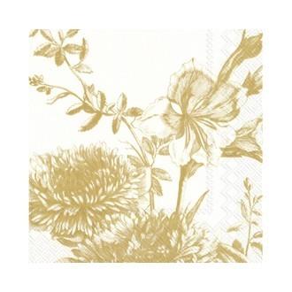 20 serviettes 33x33cm décorées fleurs dessinés or et blanches,