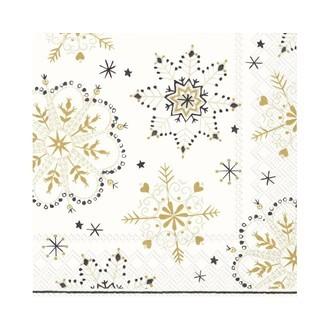 20 serviettes 33x33cm décorées cristaux de neige or et noirs