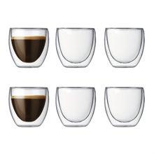 Achat en ligne  Set de 6 tasses à café double parois Pavina 8cl