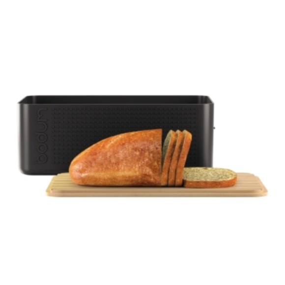 Boite pain grand modèle noir couvercle bambou 24x37x14 cm