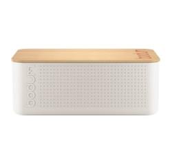 acquista online Porta pane bianco con coperchio in bambù 24x37x14 cm