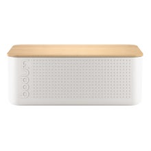 Achat en ligne  Boite pain grand modèle blanc couvercle bambou 24x37x14 cm