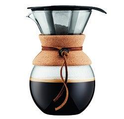 Achat en ligne Cafetière filtre POUR OVER permanent en inox finition liège 1L