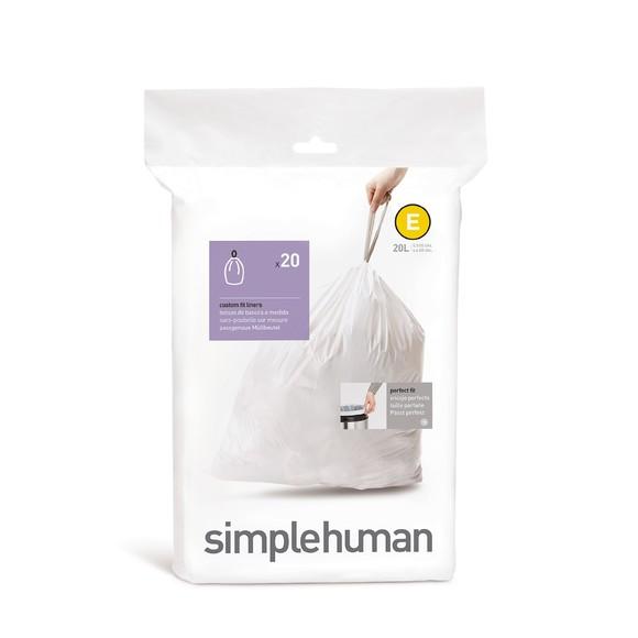 Set 20 sacs poubelle lettre E 20L en plastique blanc