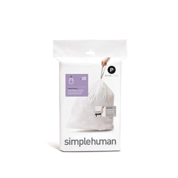 Set 20 sacs poubelle lettre P 50-60L en plastique blanc