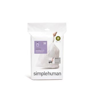 SIMPLEHUMAN - Set 20 sacs poubelle lettre R 10L en plastique blanc