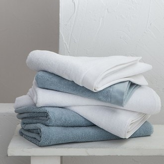Maom - serviette de bain en coton éponge blanc 100x150cm