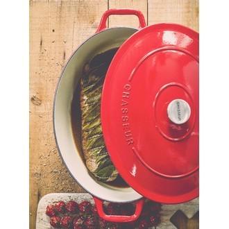 CHASSEUR - Cocotte ovale en fonte rouge 35cm 7,4L