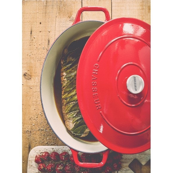 Cocotte ovale in ghisa rossa 35cm, 7,4 L