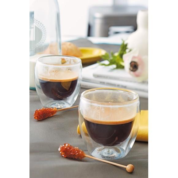 Achat en ligne  2 tasses à café en verre double paroi Pavina 8cl