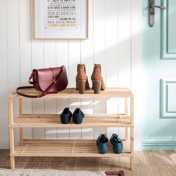Etagère pour chaussures 3 étages avec latte en pin