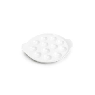 Plat à escargot en porcelaine blanche 12 pièces