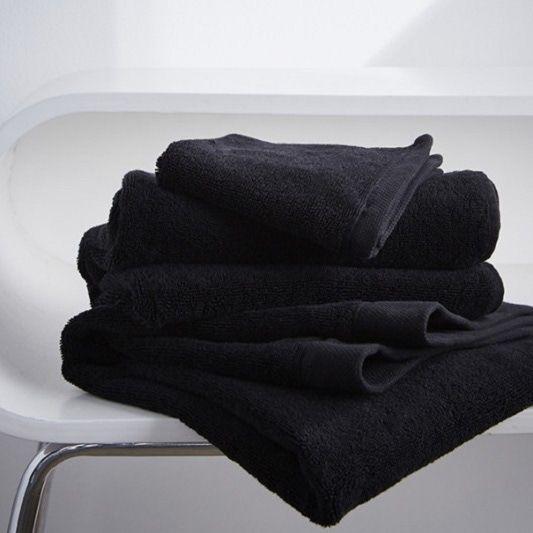 Serviette de douche 70x140cm en coton éponge noir