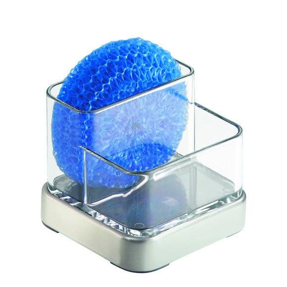 Portaspugna doppio in acrilico e acciaio inox Forma 9x9x8,5cm