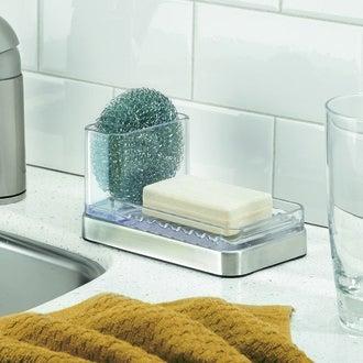 Porte éponge/savon en acrylique/inox Forma 15x8,5x8,5cm
