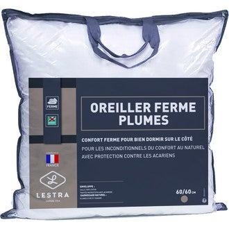 LESTRA - Oreiller ferme en plume - Traitement antiacariens 60X60cm