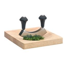 acquista online Set tagliere in legno 25x20cm con mezzaluna in acciaio inox