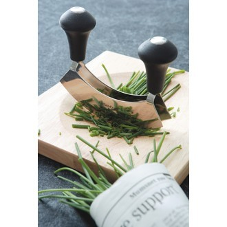 Set avec hachoir inox et planche en bois 25cm