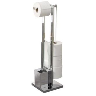 Valet de toilette avec support brosse et dérouleur papier toilette chrome
