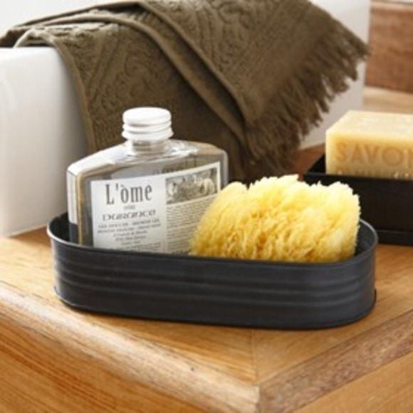 Boite savon en métal noir Zingue 10x7,5x4,6cm