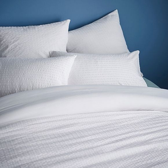 Taie d'oreiller carrée en percale blanc Seersucker 50x50cm