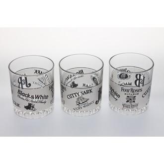 3 verres à whisky en verre décoré JB 24,5cl