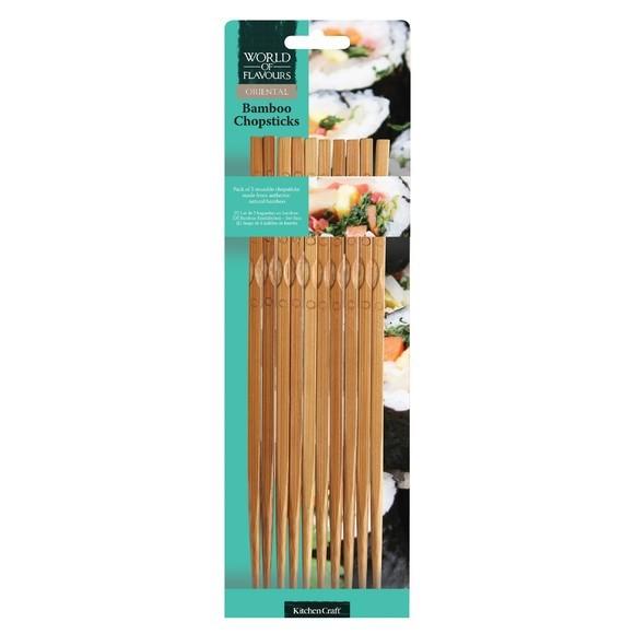 compra en línea Juego de 10 palillos chinos para comer de madera de bambú