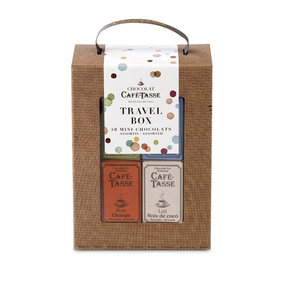 Travel box de 50 tablettes de chocolat assorties 450g