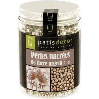 PATISDECOR - Perles de sucre nacrées argent en flacon 90g