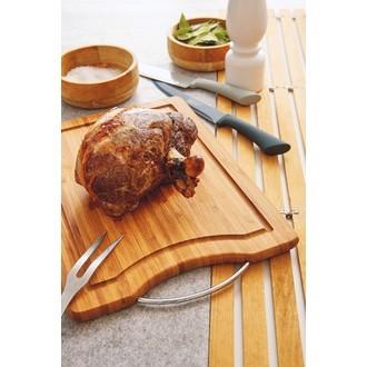Planche bambou avec rigoles et anses en métal 40x28cm