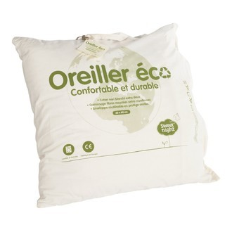 Oreiller éco-conçu en fibres polyester recyclées 60x60cm