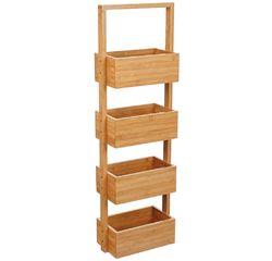 compra en línea Estantería de pie para baño de 4 cestas de bambú