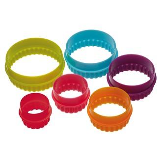 Set 6 emporte-pièces rond cannelés en plastique de 5 à 10cm