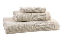 Achat en ligne Serviette de douche 50x100cm coton/lin jacquard à frange beige